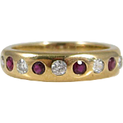 Antique 1900s Austrian 14k Yellow Gold Diamonds & Rubies Wedding Band Ring