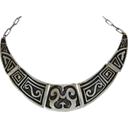 Mid-Century Modern Heavy Sterling Silver Necklace