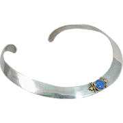 Vintage Sterling Silver Collar Choker Necklace w/ Blue Stone