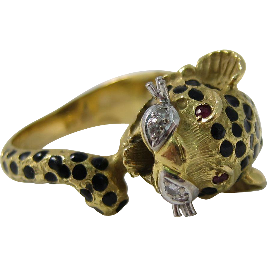 Gorgeous Cartier Style 18k Yellow Gold Diamonds Leopard Cat Ring