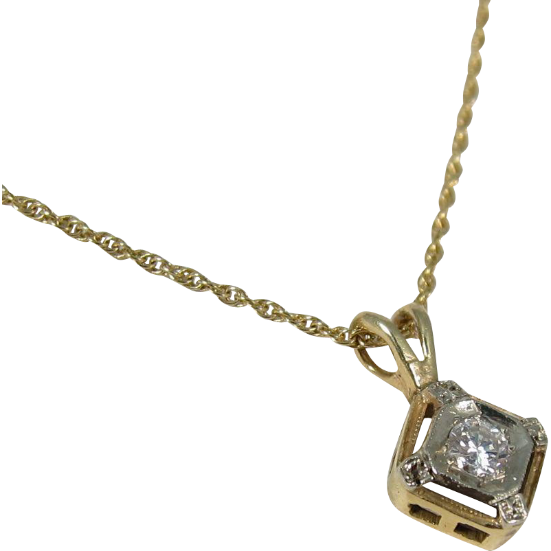 Beautiful Vintage Art Deco Style 14k Yellow Gold & Diamond Necklace Pendant