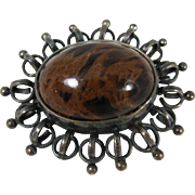 Vintage Modernist 800 Silver & Brown Agate Polish Brooch Pin 1960s Warsaw