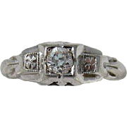 Vintage 1920s Art Deco 14k White Gold and Diamond Engagement Ring