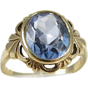 Vintage 10k Yellow Gold and Light Blue Stone Ring
