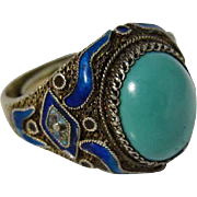 Chinese Vintage Gilt Sterling Silver Enamel Turquoise Ring China