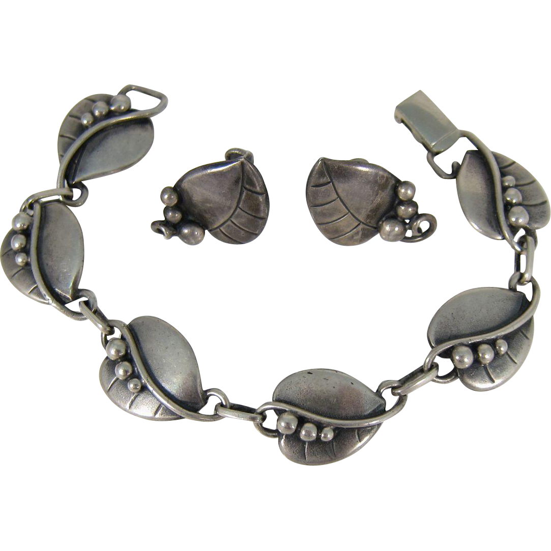 Vintage Arts & Crafts Movement Sterling Silver Bracelet & Clip-On Earrings Georg Jensen Style