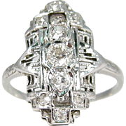 Exquisite Art Deco Old European Cut Diamond Ring 18k White Gold