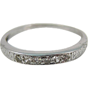 Vintage Platinum Wedding Band with Diamonds