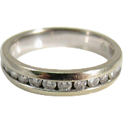Vintage 18k White Gold & 0.5 TCW Diamonds Half Eternity Wedding Band