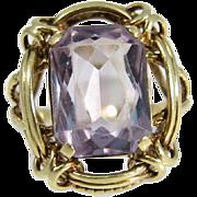 European Early XX Century 14k Yellow Gold & Octagon Cut Amethyst Ring