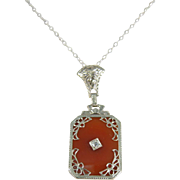 Art Deco 14k White Gold Carnelian & Diamond Pendant Necklace