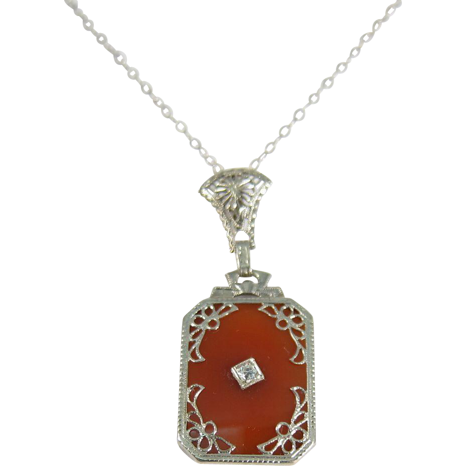 Art Deco 14k White Gold Carnelian & Diamond Pendant Necklace