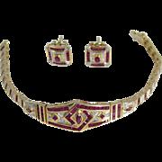 Vintage 1970s-1980s Yellow Gold Rubies Diamonds Bracelet & Earrings Set