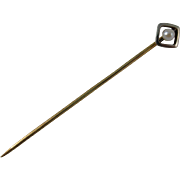 Art Deco European 14k Yellow Gold & Cultured Pearl Stick Pin