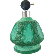 Czech Malachite Glass Perfume Bottle