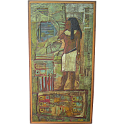 Mid Century Mixed Media Collage on Board Egyptian Motif Painting by NY Artist Norman Pate