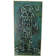 Mid Century Mixed Media Collage on Board Green Owl Painting by NY Artist Norman Pate