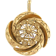 Antique Victorian 14k Rose Gold Filigree Pin Brooch Pendant
