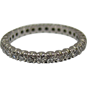 Vintage 18k White Gold Diamond Eternity Wedding Band Ring