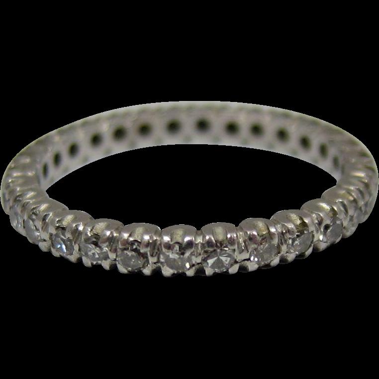 Vintage 18k White Gold Diamond Eternity Wedding Band Ring
