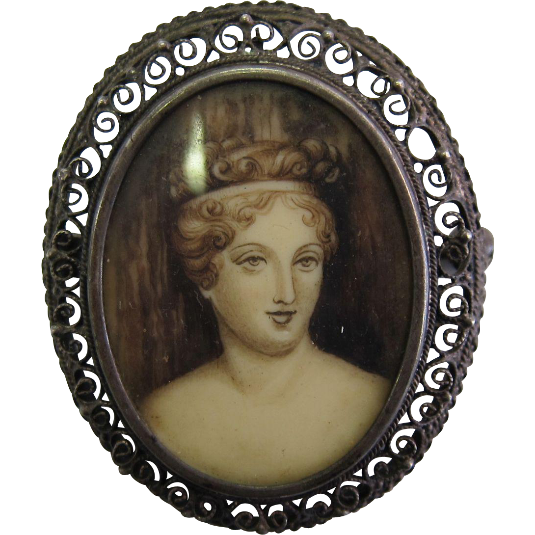 Victorian Hand Painted Miniature Portrait 800 Filigree Silver Brooch/Pendant