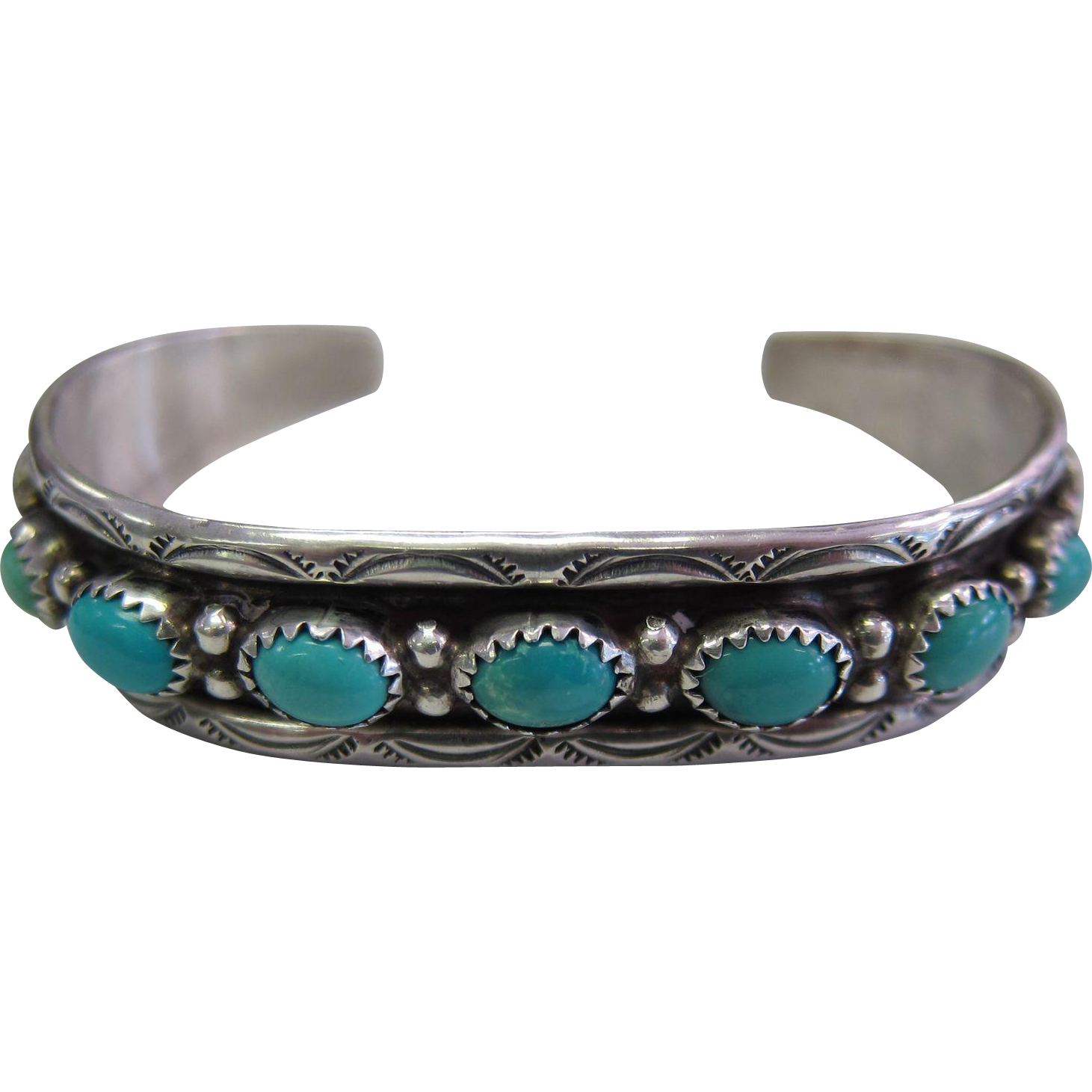 Vintage J.Cadman Navajo Old Pawn Turquoise Sterling Silver Cuff Bracelet