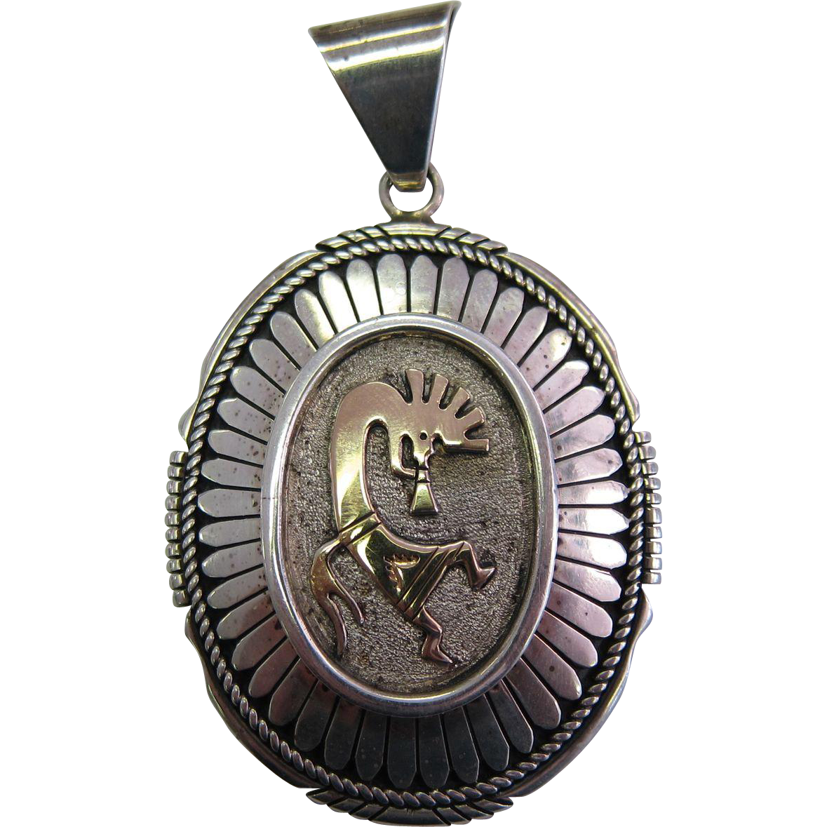 Vintage Large Pendant Sterling Silver & 14K Gold by Navajo Lee Bennett
