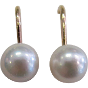 Vintage 14k Yellow Gold White Cultured Pearls Screw Back Earrings