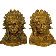 Heavy Pair Solid Cast Bronze Bookends Native American Indian Chief Sitting Bull Sculpture