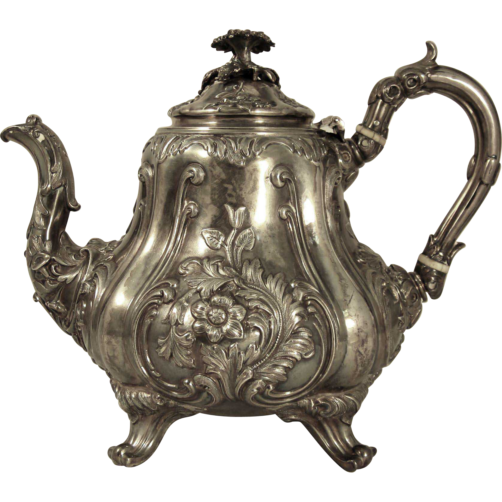 Antique Victorian Sterling Silver Teapot London 1857 Horace Woodward