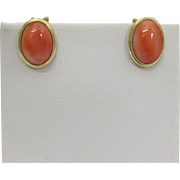 Beautiful Oval Natural Pink Coral 14k Yellow Gold Earrings