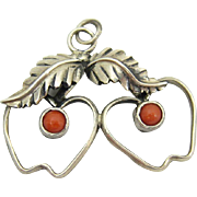 Vintage Native American Sterling Silver & Coral Cherries Pendant