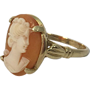 Vintage 14k Yellow Gold Woman Profile Shell Cameo Ring