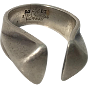 Anna Greta Eker Modernist Open Shank  Sterling Silver Ring Norway