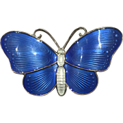 Vintage Gilt Sterling Silver Blue Enamel Butterfly Pin Brooch Norway