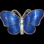 Vintage Gilt Sterling Silver Blue Enamel Butterfly Pin Brooch Norway