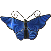Vintage Gilt Sterling Silver Blue Black Enamel Butterfly Pin Brooch Norway