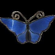 Vintage Gilt Sterling Silver Blue Black Enamel Butterfly Pin Brooch Norway