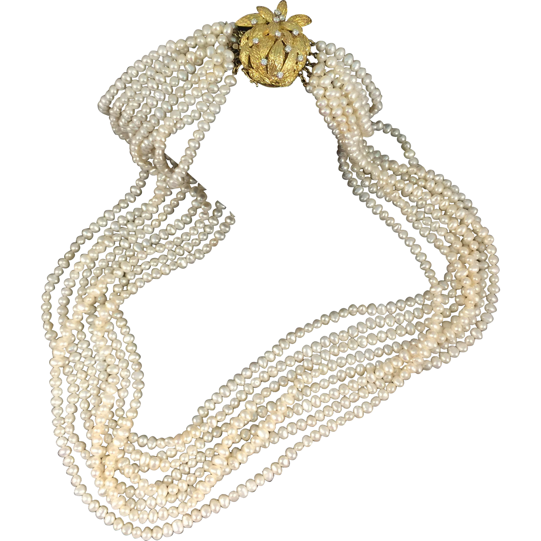 Gorgeous Freshwater Cultured White Pearls 18k Yellow Gold & Diamonds Necklace