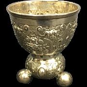 Antique German 800 Silver Repousse Beaker Cup