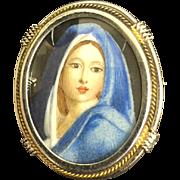 Vintage Italian 800 Silver Miniature Painting Girl Blue Dress Brooch Pin