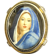 Vintage Italian 800 Silver Miniature Painting Girl Blue Dress Brooch Pin