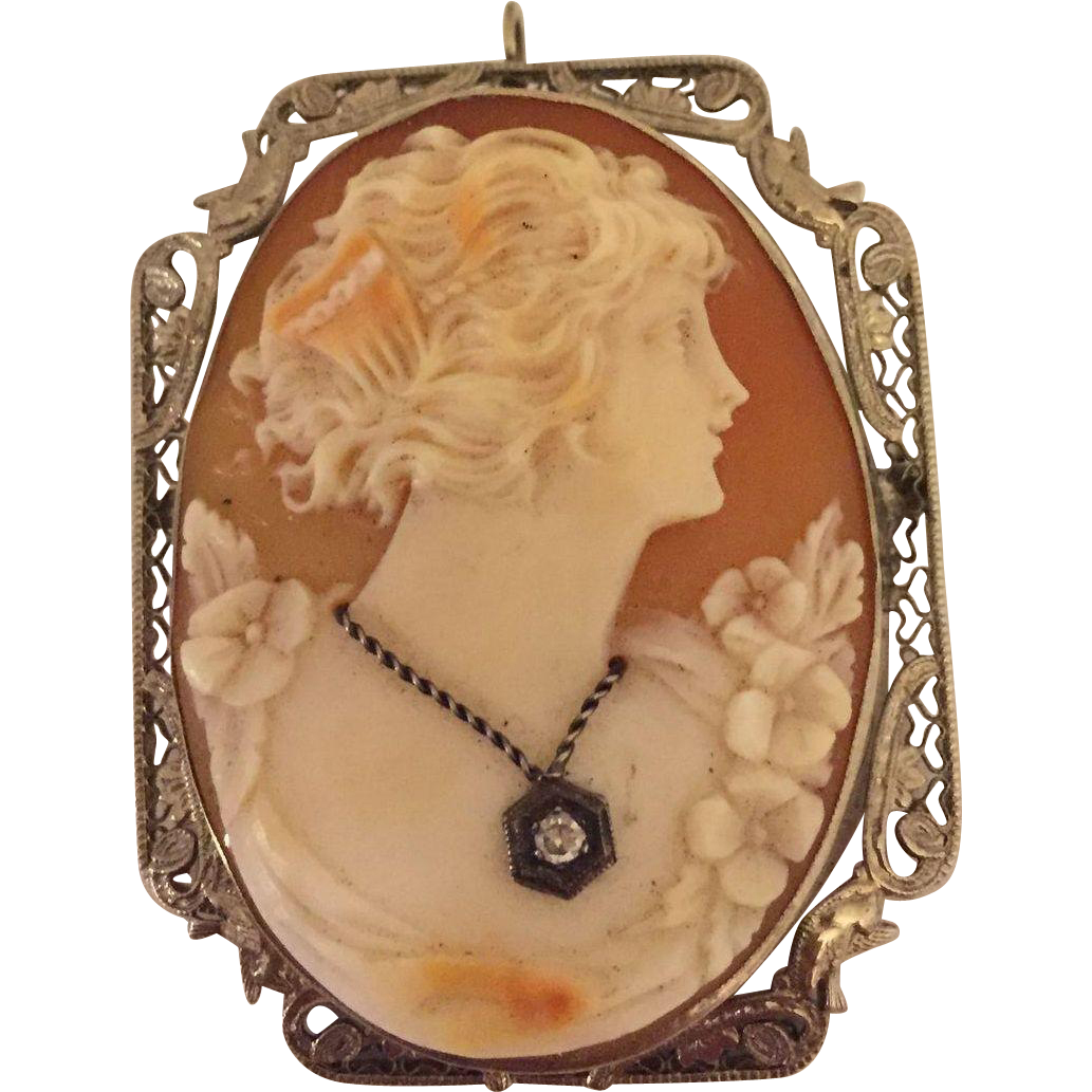 Beautiful Art Deco Carved Shell Cameo Brooch Pin Pendant