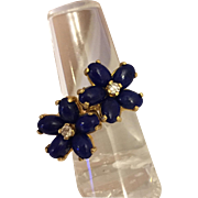 Gorgeous 14k Yellow Gold Lapis & Diamonds Flower Ring