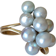 Stunning 14k Yellow Gold & Grey Cultured Pearls Grape Design Ring