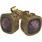 Beautiful Pair of 14K Yellow Gold and Cushion Cut Amethyst Earrings