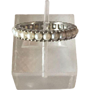 Gorgeous 14K White Gold Eternity Band Ring with Cultured White Pearls