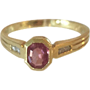 Vintage European 18K Yellow Gold Ruby and Diamonds Ring