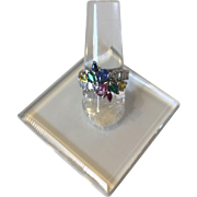Gorgeous EFFY Design 14K White Gold Diamond And Colored Stones Ring