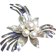 Large Elegant Sterling Silver Cultured Pearl Brooch/Pin